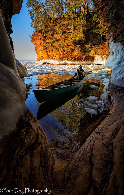 Mike Dewitt  (photographer) with Andy Matheus at the Apostle Islands Sea Caves