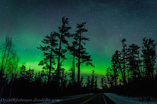 Gunflint Pines Aurora by David Johnson.