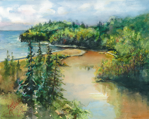 "Mouth of Beaver Bay River 15""x12"""