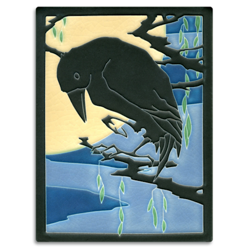 Raven by handmade tile Motawi Tiles.