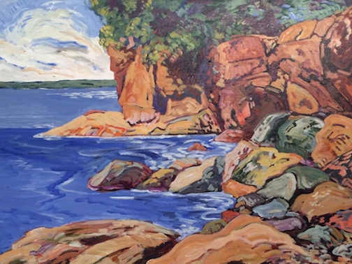 One of the paintings by Doug Ross on exhibit at Tettegouche State Park.