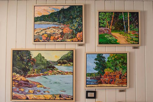 Paintings by Doug Ross. He will teach at class at Kah Nee Tah on Saturday.