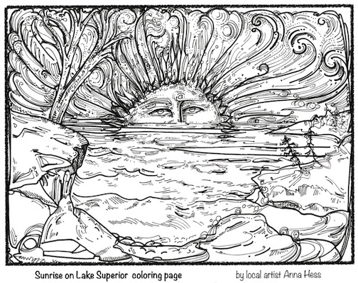 """Sunrise,"" a coloring page by Anna Hess."
