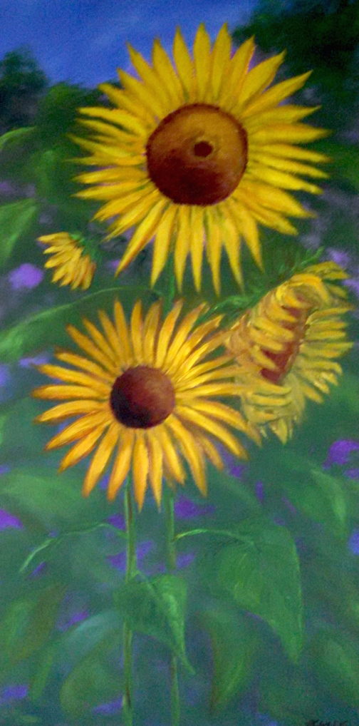 """Yellow Sunflower Garden"" by Paula Sundet Wolf."