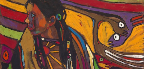 "Arthur Shilling, ""Ojibway Dreams,""(young girl in dream), (detail),"