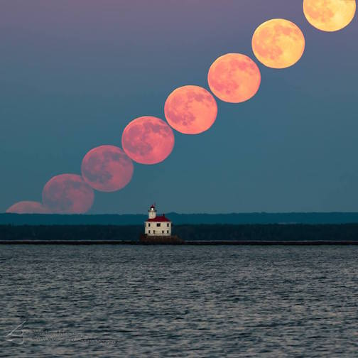 Grant Johnson took this compilation of the Strawberry Moon rising on the Summer Solstice.