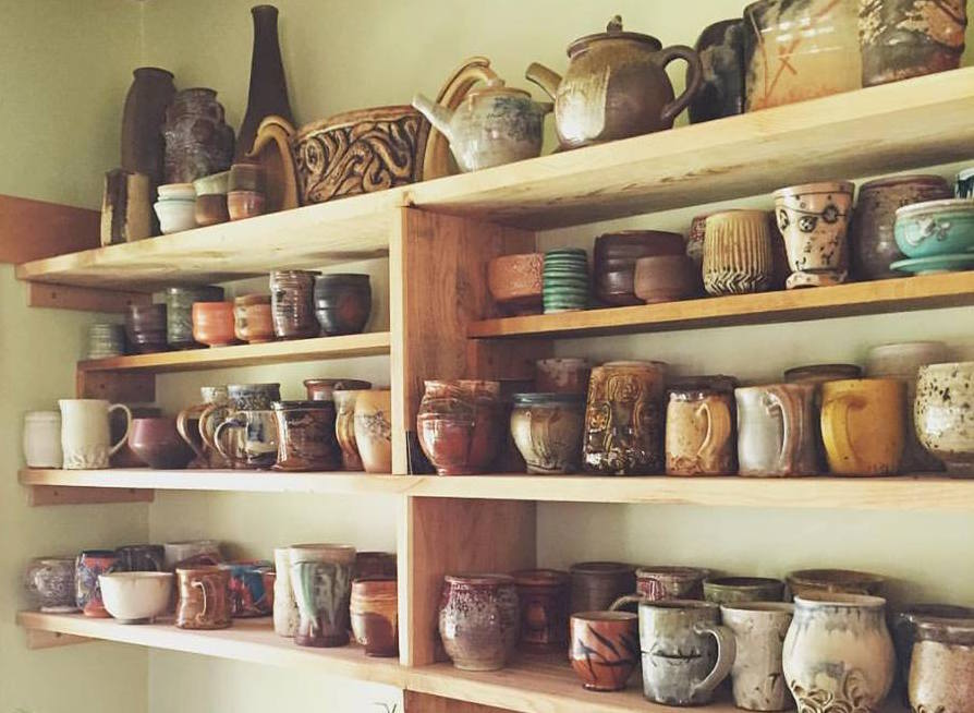 A collection of pottery by Gail Rosenquist and Paul Zoldahn.