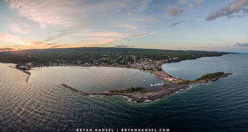 "This Grand Marais aerial panoramic was ""stiched"" together from a number of different photographs by Bryan Hansel."