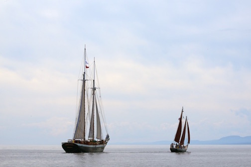 The Tall Ship Festival is in Duluth this weekend. Kathy Gray Anderson caught this photo of the Tall Ship, Mists of Avalon, as it sailed past Grand Marais, greeted by the Hjordis, North House Folk School's gaff-rigged schoooner.