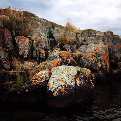"""Rowboats are my favorite these rocks are my favorite these lichens are my favorite this lake is my favorite by Melissa Wickwire."