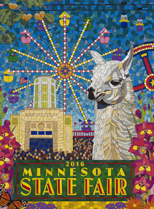 The Minnesota State Fair's 2016 Commemorative Art work created by Michael Sweere features Lucky the Llama with iconic images of the fair.