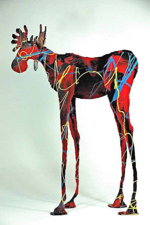 A colorful moose, 19 inches, bronze, by Tom Christiansen.