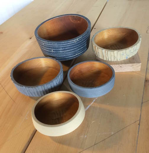 Hand-turned bowls by Jim Sannerud.