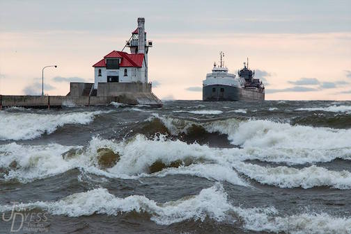 "The Michipicoten arriving in Duluth with help from a heavy tail wind"" by Jon Dyess."