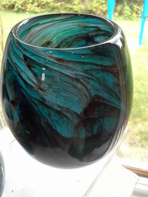 Glass votive by Lea DeWit.