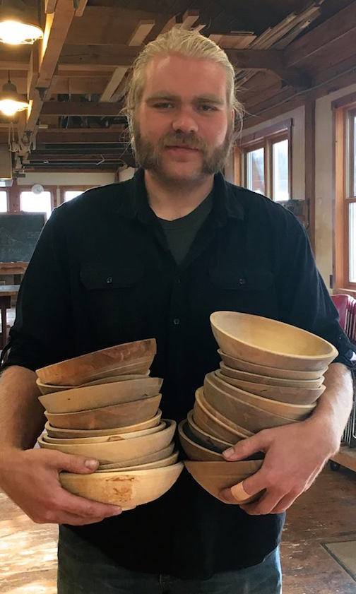 Sam Gathje, an intern at North House Folk School, has turned 50 bowls for the Empty Bowls Fundraiser and is inviting the public to learn more about the project and paint-a-bowl with milk paint from 5-7 p.m. Thursday, Nov. 3.