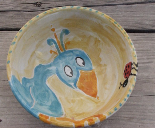 One of the bowls created at a Paint-A-Bowl event a few years ago. Painted by Susan Bragstad.