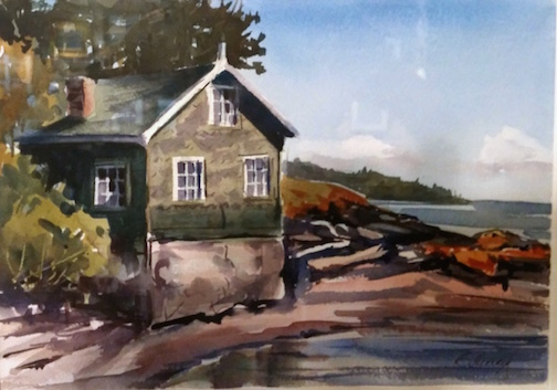 """""""Boathouse on Croftville Road"""" by Catherine Hearding, is one of the plein air paintings on exhibit at the Johnson Heritage Post."""