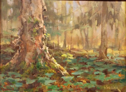 Mossy Hollow by Kathy Wheeler is one of the paintings in the Plein Air 2016 exhibit at the Johnson Heritage Post.