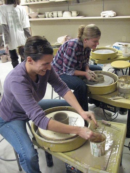 Theresa Oberg and  during a Make-A-Bowl session at the Grand Marais Art Colony. The photo was