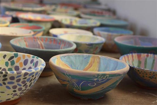 Painted bowls await firing after the Paint-A-Bowl event last year. This year, the event will be held OCt. 29 from 10 a.m. to 2 p.m. at the Grand Marais Art Colony.