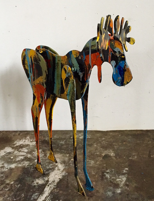 Tom Christiansen's painted moose. It's small, only 2-feet tall. It can be found at his gallery: Last Chance in Lutsen.