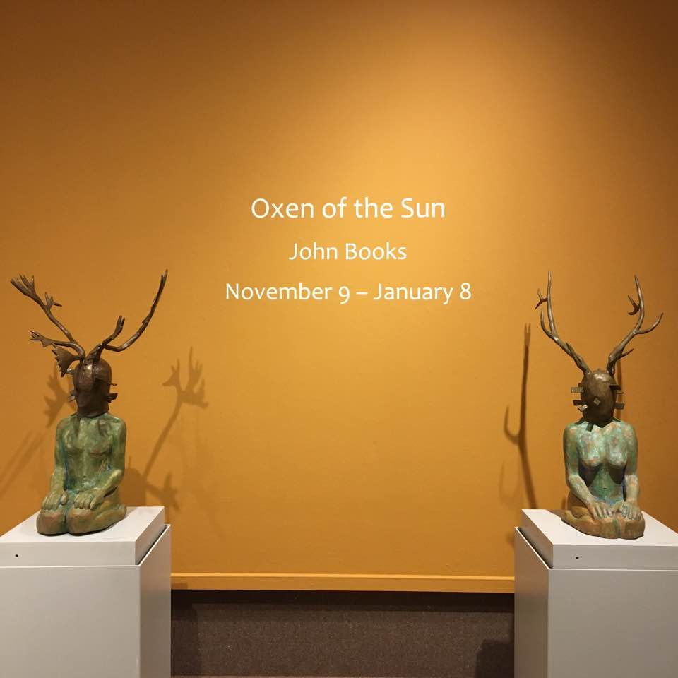 "John Books' exhibit ""Oxen of the Sun"" continues at the Thunder Bay Art Gallery."
