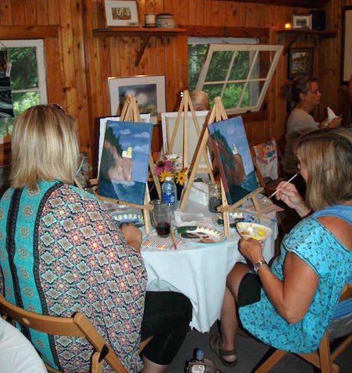 Painting Up a Storm at Kah Nee Tah Gallery on Saturday evening.