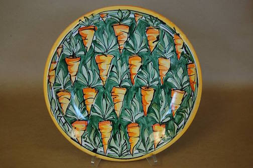 Carrot platter by Karin Kraemer. She is a new artist at Last Chance Gallery.
