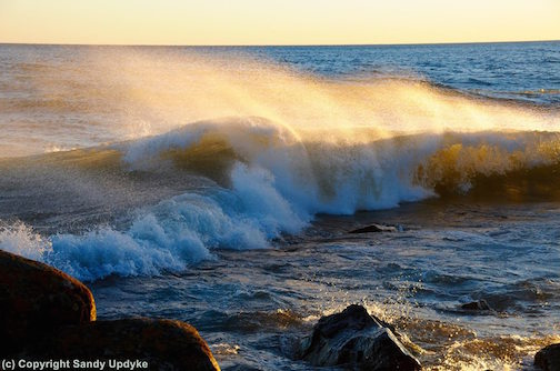 """Waves at Sunset: November Gale"" by Sandra Updyke."