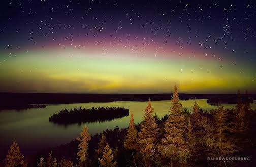 "Jim Brandenburg's ""Moose Lake Aurora Borealis"" will be in his exhibit at the American Swedish Institute."