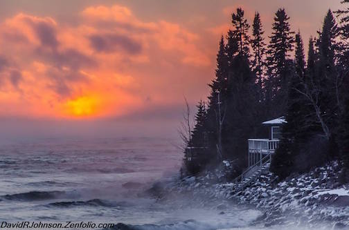 Sea Smoke Sunset by David Johnson.