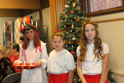 Paige was the St. Lucia during Julefest last year. She is attended by Taylor and Cecelia.