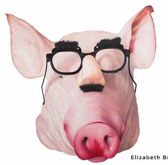 """Marxist Pig,"" oil, by Elizabeth Buset."