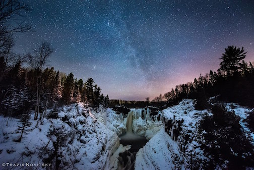 Winter Night Sky over the High Falls by Travis Novitsky.