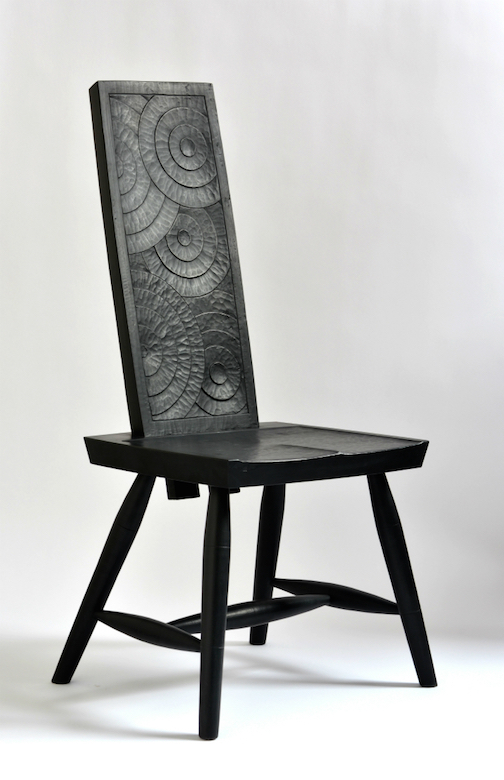One of the chairs Sannerud has crafted for the installation.