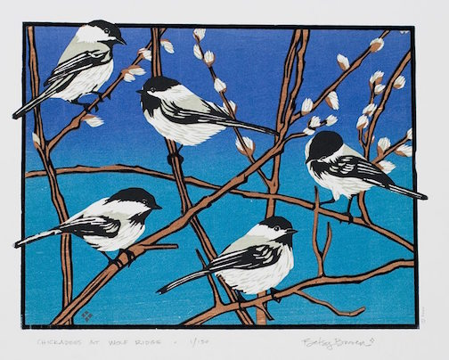 Woodcut printmaker Betsy Bowen posted this wonderful print of chickadees. They are part of her card collection at Betsy Bowen Studio & Galleries.