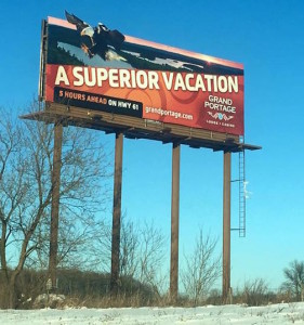 Travis Novitsky's photograph of a bald eagle is featured on this billboard.