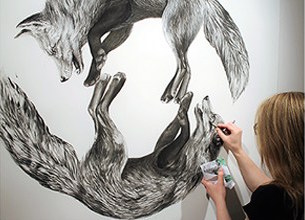 Amanda Burk crafts large-scale animal drawings on exhibit at the Thunder Bay Art Gallery.