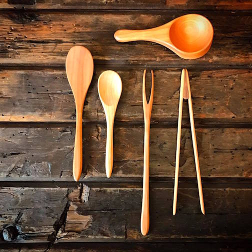 Jonathan Simons has hand-carved cherry kitchen utensils at Kah-Nee-Tah Gallery in Lutsen.