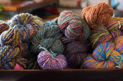 Handmade yarn by Kristine Burnes of Kaleidoscope Kitty is at Kah-Nee-Tah Gallery.