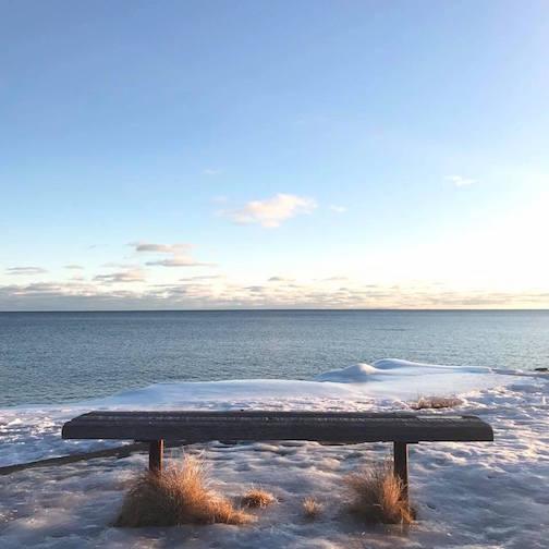 Stone bench. Photo by Kristofer Bowman.