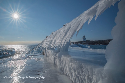 Ice-covered Breakwall by Paul Sundberg.