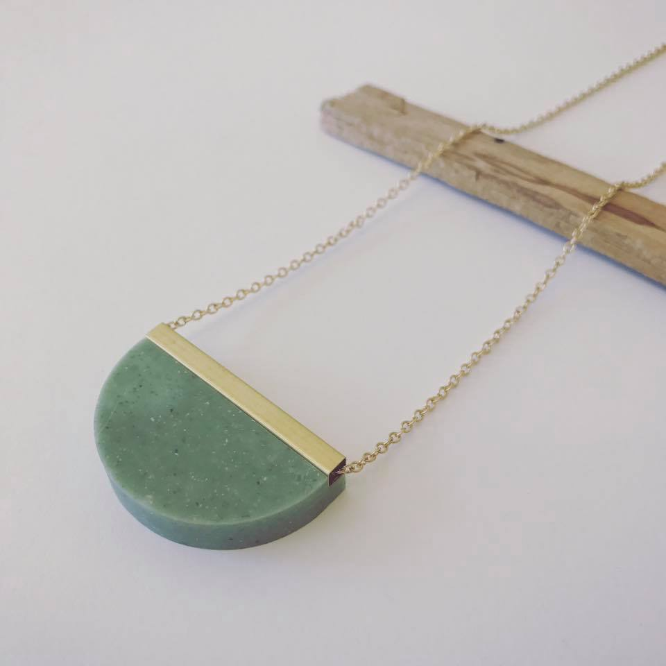 A selection of Jade-toned Corian necklaces by dConstruct are at UpState MN.