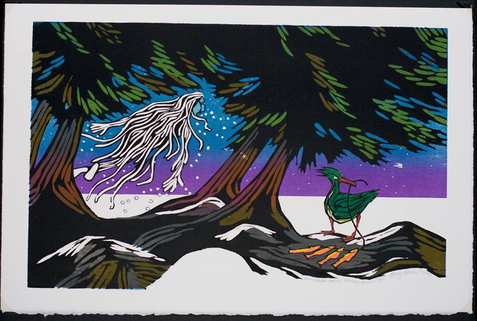 "An original woodcut titled, ""Shingebiss & Wintermaker."" From Original woodcut by Betsy Bowen from ""Shingebiss: An Ojibwe Legend,"""