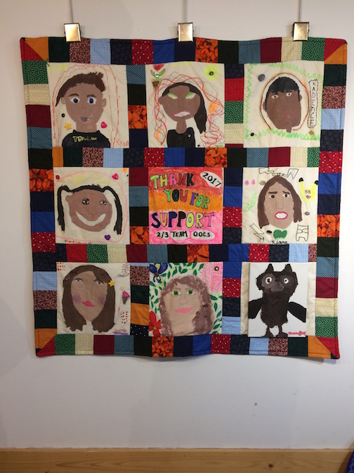 Quilt, created by students at the Oshki Ogimaag charter school in Grand Portage.