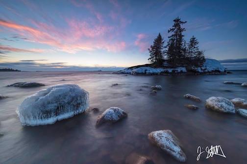 Tombolo Sunrise by Jim Schnortz.