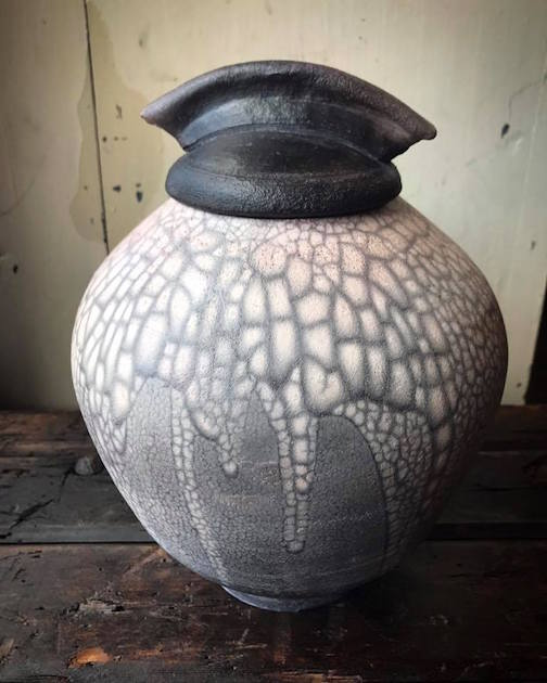 "Kah-Nee-Tah Gallery in Lutsen has new work by Maggie Anderson, including this ""naked raku"" pot. Anderson is teaching a pottery class at the Art Colony which starts next week. Call the Art Colony at 387-2737 for more info."