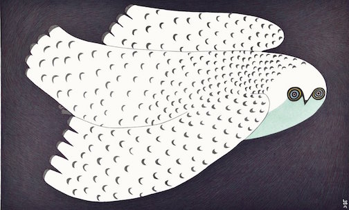 """Midnight Owl,"" a stonecut and stencil Cape Dorset print by Ningeokuluk Teevee is at Sivertson's Gallery."