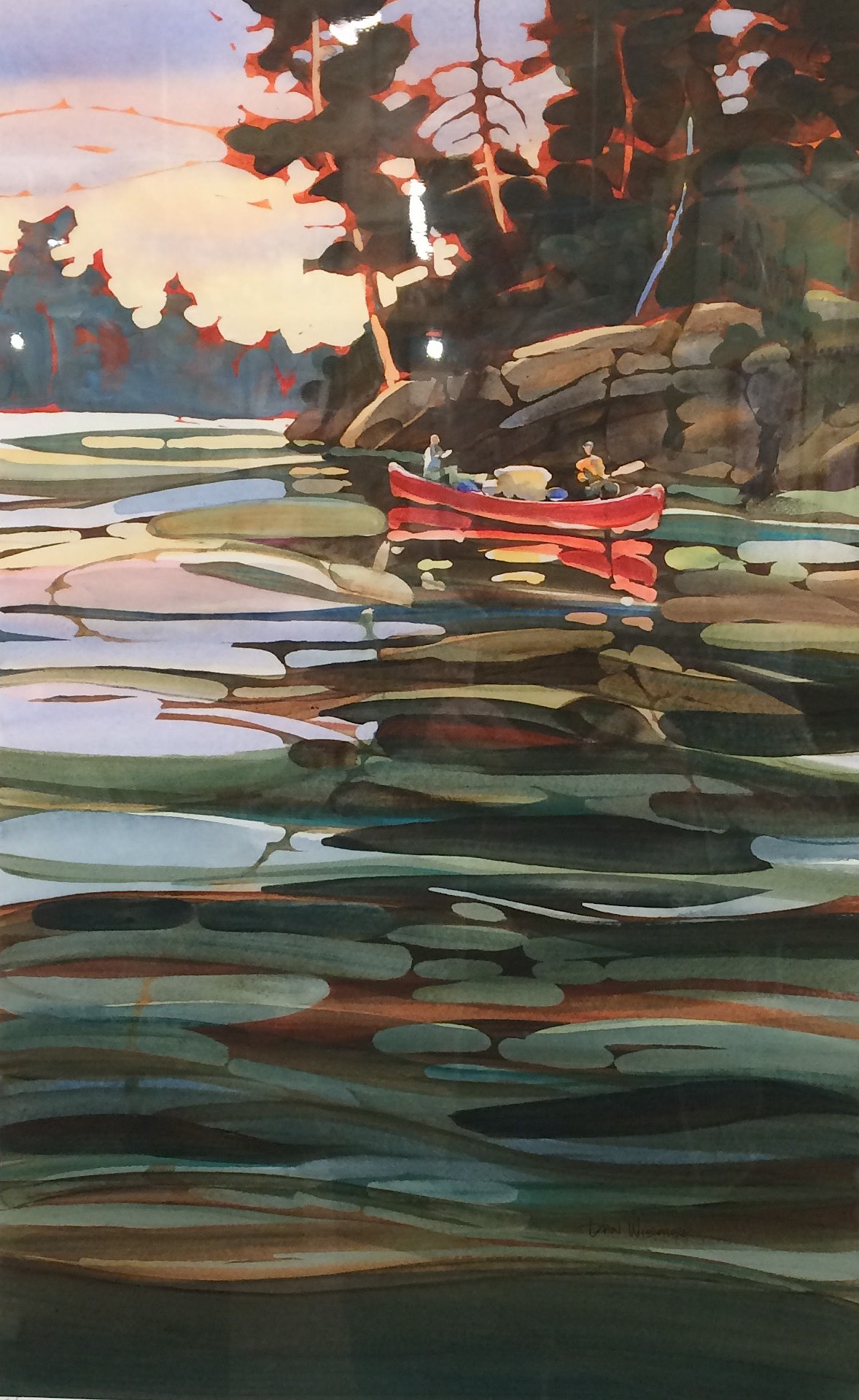 "Painter Dan Weimer has work at Sivertson Gallery, This piece is called ""Quetico Reflections."""